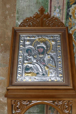 TROYAN, BULGARIA - APR 14, 2019 - Icon of Madonna and Christ child, Stauropegial Troyan monastery ,Troyan, Bulgaria Editorial