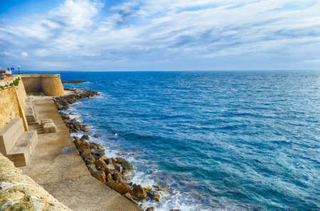 Ancient fortifications on the Ionian waterfront of Gallipoli, Puglia, Italy