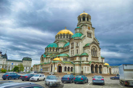 Exterior of domed  Alexander Nevsky cathedral, Sofia, Bulgaria