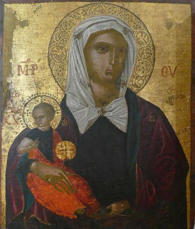 HVAR, CROATIA - APR 29, 2019 - Icon of Madonna and Christ child, Hvar, Croatia