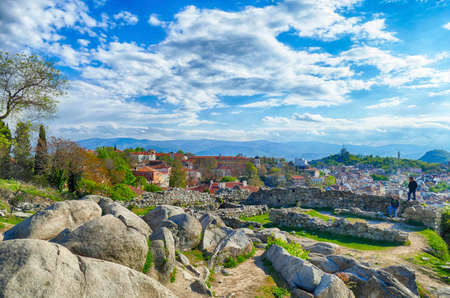 View from remains of ancient fortress over the hills of  Plovdiv, Bulgaria
