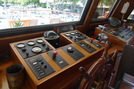 SPLIT, CROATIA - MAY 2, 2019 - Navigation and steering on a small cruise ship, Split, Croatia