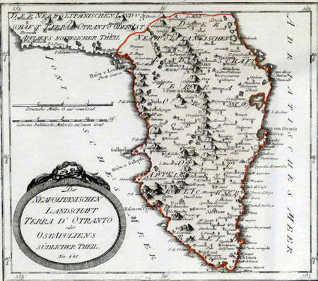 BRINDISI, ITALY - APR 11 2019 - Antique map of southern Italy, Palazzo Grandfei - Nevegna,Brindisi, Puglia, Italy