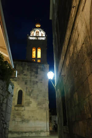 Lighted bell tower at night,Cathedral of St  Mark,Korcula, Croatia Stock Photo