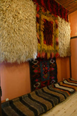 PLOVDIV, BULGARIA - APR 17, 2019 - Goat hair rugs from 19th century   home, Ethnographic Museum, Plovdiv, Bulgaria