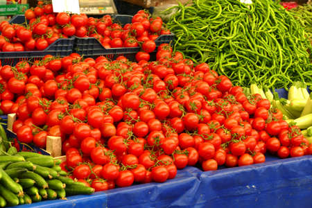 Bright red tomatoes in the central market of Canakkale, Turkey