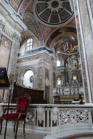 MONOPOLI, ITALY - APR 11, 2019 -Marble inlays of the Basilica Cathedral della Madonna della Madia, Monopoli, Puglia, Italy 에디토리얼