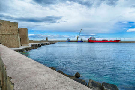 Oil tanker anchored in the port of Polignano, Puglia, Italy