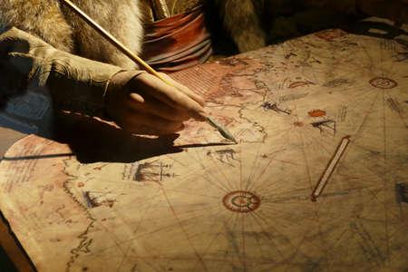 KALITBAHIR, TURKEY - APR 21, 2019 - Piri Reis cartographer drawing a map, Kalitbahir, Turkey 報道画像