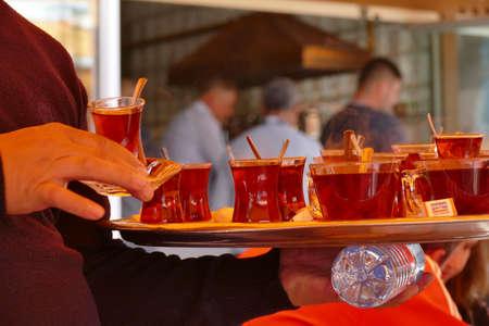 Serving tea in an outdoor restaurant in  Canakkale, Turkey
