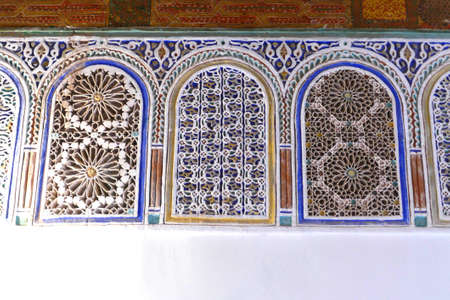 Elaborate mosaic windows in the Kasbah Taourirt, Ouarzazate,  Morocco, Africa