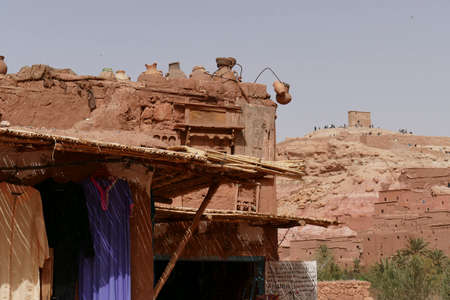 Mud brick buildings of the Ait ben Haddou,  Morocco, Africa Standard-Bild - 123130037