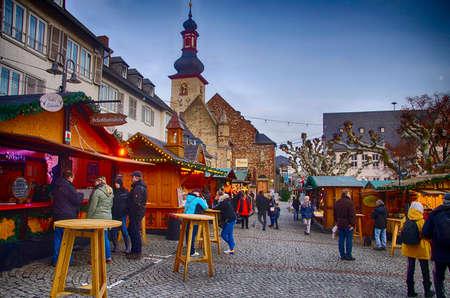 RUDESHEIM, GERMANY - DEC 18, 2018 - Christmas market in Rudisheim, Germany