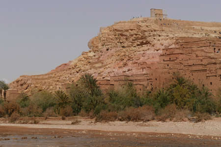 Mud brick buildings of the Ait ben Haddou,  Morocco, Africa Standard-Bild - 123130055