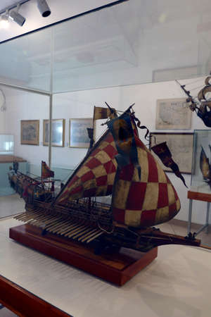 SPLIT, CROATIA - MAY 2, 2019 - Croatian galley St. Jerolim, took part in battle of Lepanto, 1571, Maritime Museum, Split, Croatia Editorial