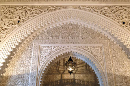 MARRAKECH, MOROCCO - FEB 18, 2019 - Arched doorway in Arabic style, Royal Mansour, Marrakech,  Morocco, Africa Editorial