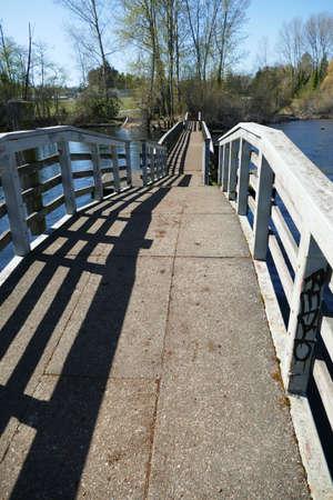 Footbridge and boardwalk through wetlands on Lake Washington, Seattle, Washington