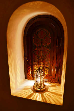MARRAKECH, MOROCCO - FEB 18, 2019 - Traditional lantern lamp in luxury hotel, Royal Mansour, Marrakech,  Morocco, Africa
