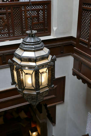 Traditional lantern lamp in luxury hotel, Royal Mansour, Marrakech,  Morocco, Africa