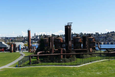 SEATTLE - MAR 30, 2019 -   Vintage gas works now public art installation in Gas Works Park, Seattle, Washington