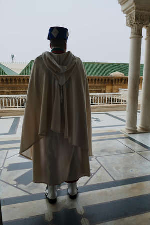 Guard in traditional uniform, Mausoleum of  Mohammad V, Rabat, Morocco, Africa