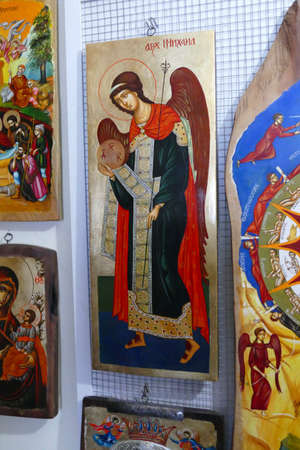 ETURA, BULGARIA - APR 16, 2019 - Icons produced in traditional style in Ethnographic village, Etura, Gabravo, Bulgaria