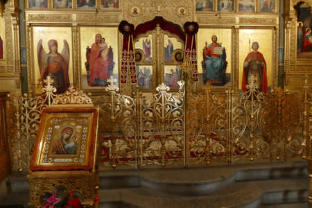 SHIPKA, BULGARIA - APR 16, 2019 - Iconostasis separates nave from apse in Shipchenski monastery of St Nicholas, Shipka, Bulgaria Editorial