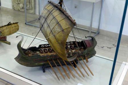 SPLIT, CROATIA - MAY 2, 2019 - Model of Roman bireme, Maritime Museum, Split, Croatia