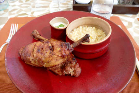 Tandoori chicken for lunch at a luxury hotel, Fairmont Royal Palm, Marrakech,  Morocco, Africa Standard-Bild