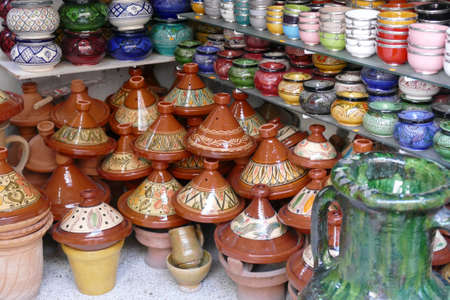 Tagine cookers and other pottery bowls in the medina bazaar of Marrakech,  Morocco, Africa