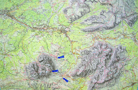 DOLOMITES, ITALY - AUG 6, 2018 - Topographic map of te Langkofel, Dolomites Alps, Italy Banco de Imagens