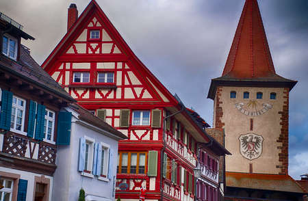 GEGENBACH, GERMANY - DEC 20, 2018 - Half timbered houses frame the Christmas market,Gegenbach, Germany
