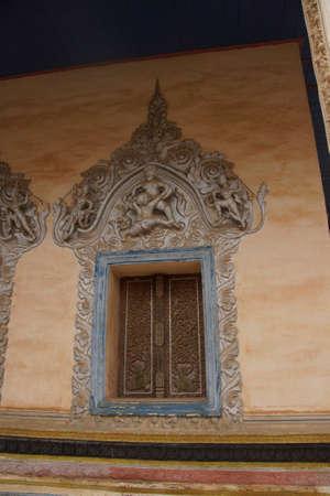 Exterior decorative stucco panels at  Wat Bo,Siem Reap, Cambodia Stok Fotoğraf