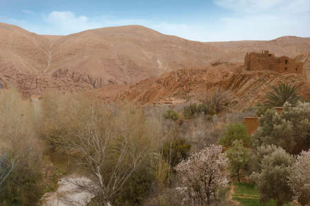 Small village of mud brick houses in the mountain valley near Ouarzazate,  Morocco, Africa Standard-Bild - 124377452