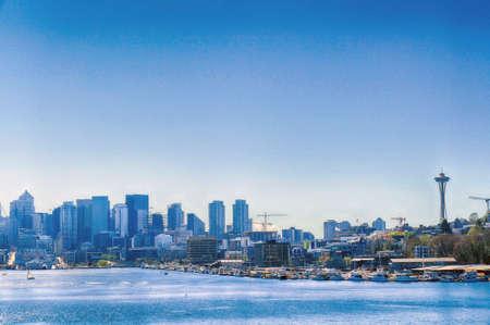 Seattle landmarks at the end of Lake Union, Seattle, Washington Imagens