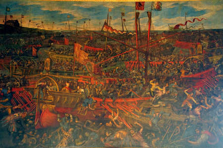 VENICE, ITALY - AUG 13, 2018 - Painting of the Battle of Salvore by Jacopo Tintoretto, Doges Palace in Venice, Italy Editöryel