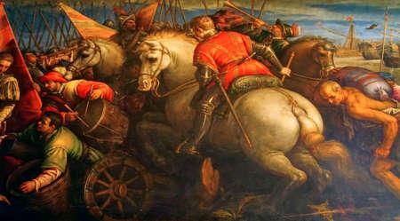 VENICE, ITALY - AUG 13, 2018 - Painting of battle scene, Doges Palace in Venice, Italy Editöryel