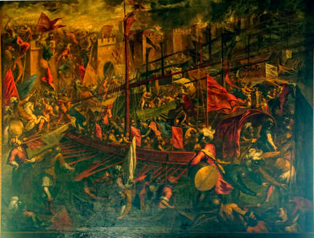 VENICE, ITALY - AUG 13, 2018 - Painting of the Surrender of Constantinople by Jacopo Palma il Giovane, Doges Palace in Venice, Italy