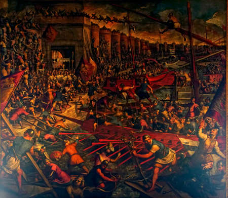 VENICE, ITALY - AUG 13, 2018 - Painting of Siege of Constantinople by Jacopo Tintoretto, Doges Palace in Venice, Italy Editöryel
