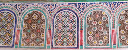 OUARZAZATE, MOROCCO - FEB 17, 2019 - Elaborate mosaic windows in the Kasbah Taourirt, Ouarzazate,  Morocco, Africa Standard-Bild - 124337920