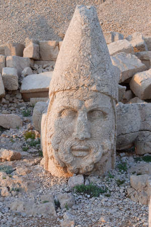 Giant head of Heracles,  tumulus of Nemrut Dag,  Turkey