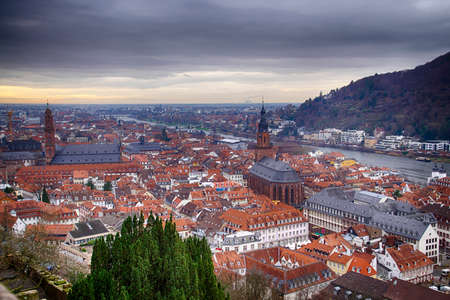 Aerial view of the old city from the hillside castle, Heidelberg, Germany