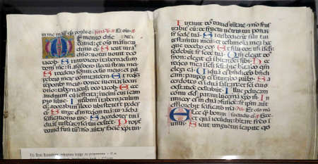 HVAR, CROATIA - APR 29, 2019 - Medieval illuminated manuscript calligraphy in Hvar, Croatia