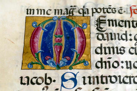 HVAR, CROATIA - APR 29, 2019 - Medieval illuminated manuscript calligraphy in Hvar, Croatia Editorial