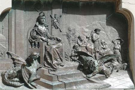 DUBROVNIK, CROATIA - APR 26, 2019 - Dragon plaque based on the poem Osman by Ivan Gundulic, Dubrovnik, Croatia 新聞圖片