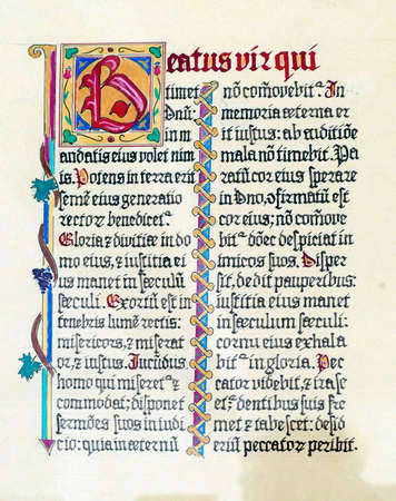 STARI GRAD, CROATIA - APR 30, 2019 - Medieval illuminated manuscript calligraphy in Stari Grad, Hvar Island, Croatia