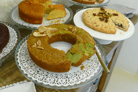 Breakfast cakes and baked goods at a boutique hotel , Palazzo SantAnna, Lecce, Puglia, Italy 스톡 콘텐츠