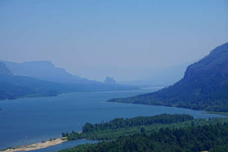Steep cliffs of the Columbia Gorge dividing Oregon from Washington