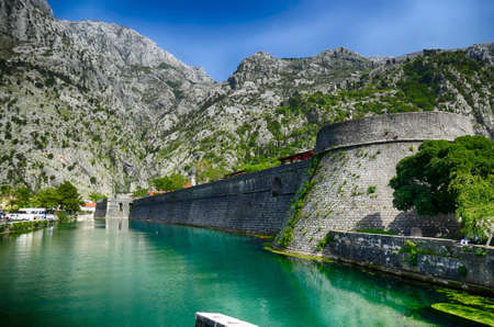 Moat and old city walls of  Kotor, Montenegro