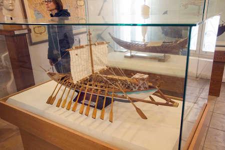 CHANIA, CRETE - DEC 3, 2018 - Model of Greek liburna galley in the naval museum of Chania, Crete, Greece Editorial